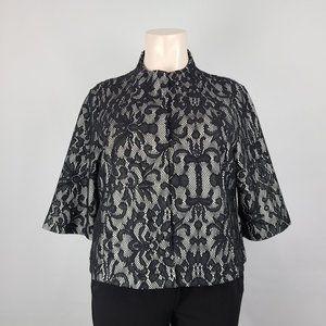 Jockey Black Lace Blazer Jacket Size XXL